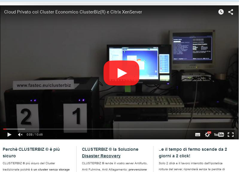 Video su YouTube del Sistema Cluster Economico ClusterBiz
